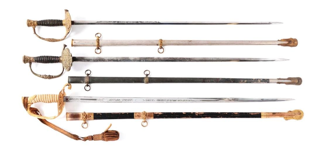 Lot of 3:  American Swords with Scabbards.