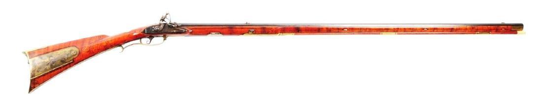 (A) Carved Fullstock Flintlock Kentucky Rifle