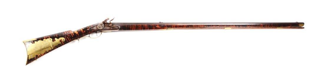(A) Fullstock Flintlock Kentucky Rifle Signed Sees.