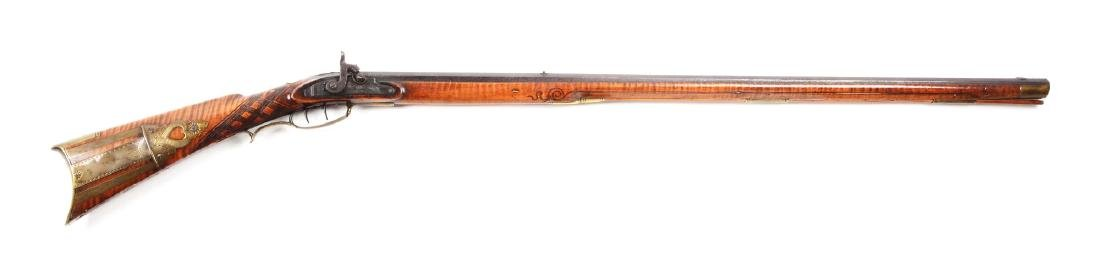 (A) Fullstock Percussion Kentucky Rifle Signed Gibbs.