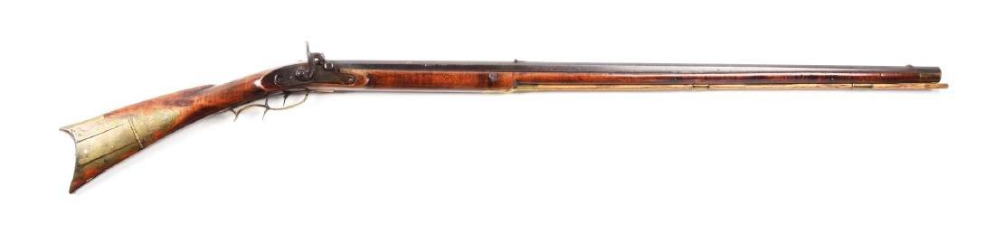 (A) Fullstock Percussion Kentucky Rifle Signed Hoak.