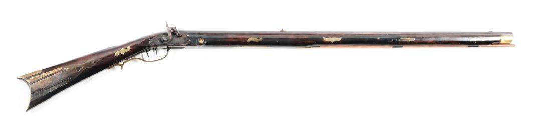 (A) Fullstock Percussion Kentucky Rifle Signed Gehrett.