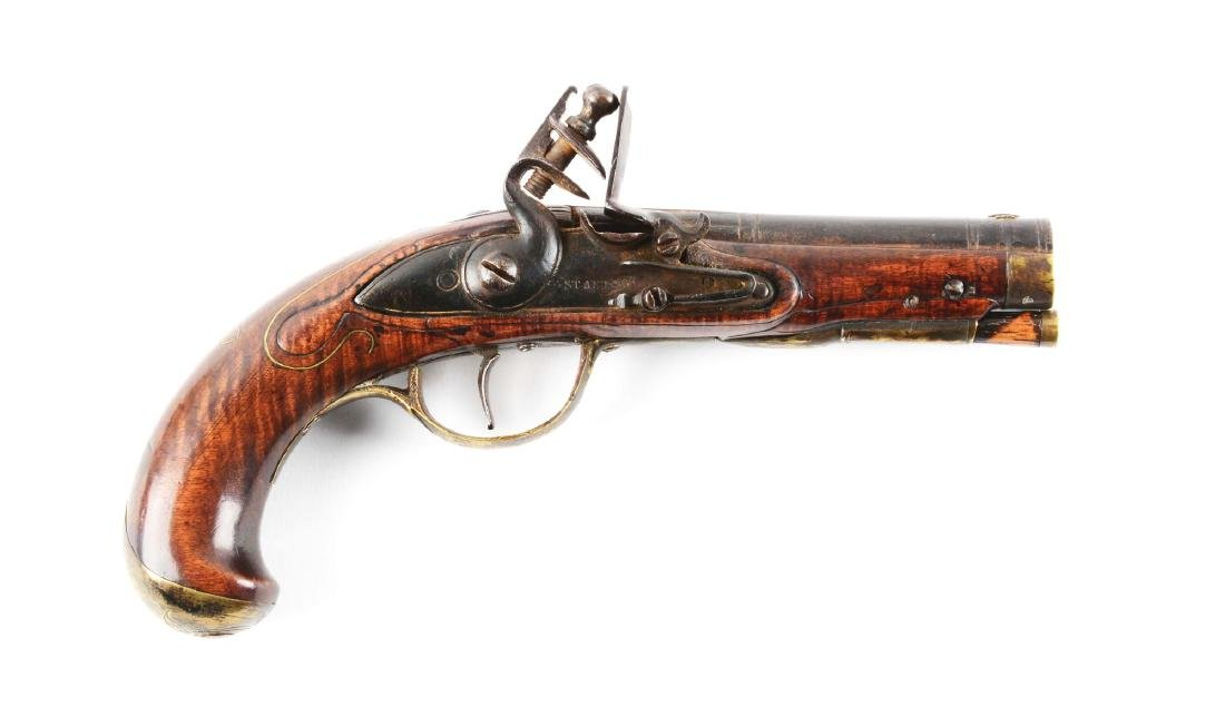 (A) Early Flintlock Kentucky Pistol.