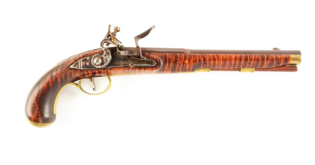 (A) Contemporary Flintlock Kentucky Pistol.