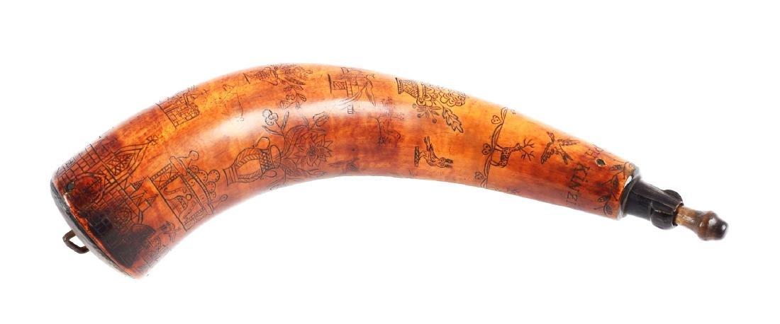 Engraved Powder Horn Inscribed Joseph Kinzinger Dated