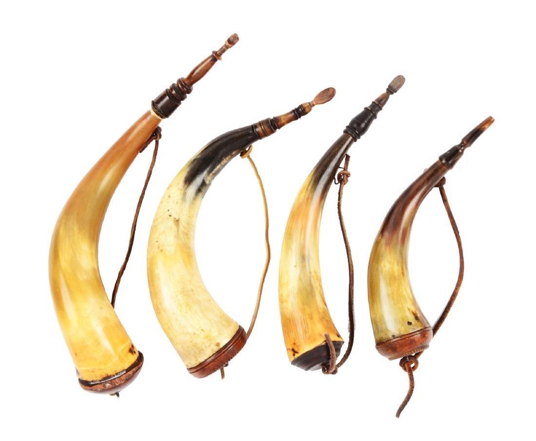 Lot of 4:  Screw-Tip Pennsylvania Powder Horns.