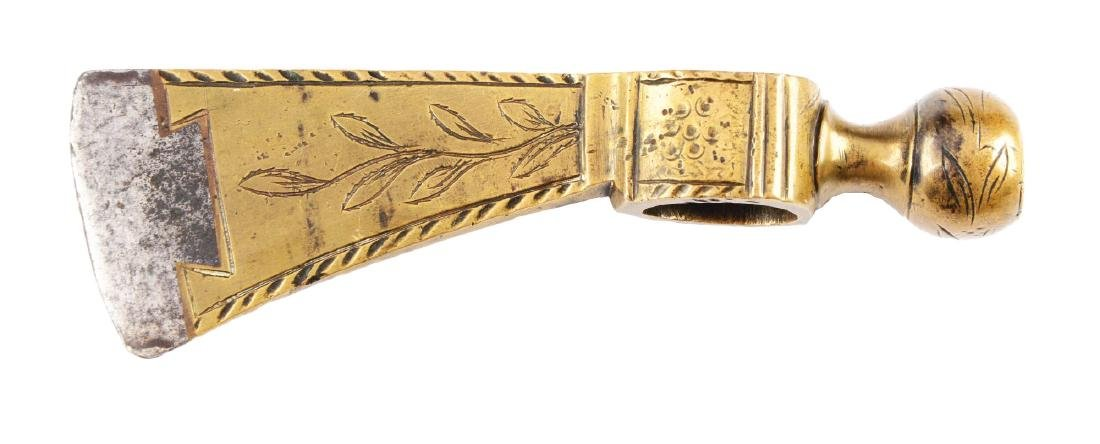Fine American Brass Pipe Tomahawk.