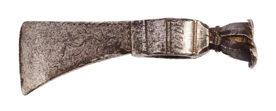Fine Decorated American Pipe Tomahawk Dated 1757.