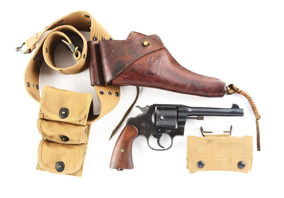 (C) U.S. Colt Model 1917 Revolver with Belt & Holster.