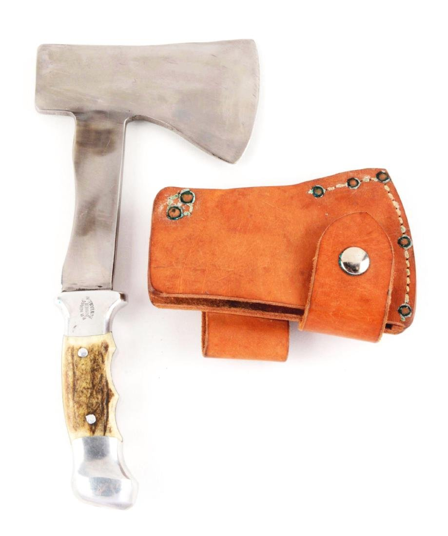 "R.H. Ruana Stag Handled Hatchet 22A ""M"" Mark."