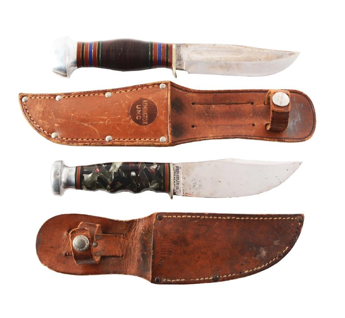 Lot of 2: Remington & Union KA-BAR Fixed Blade Knives.
