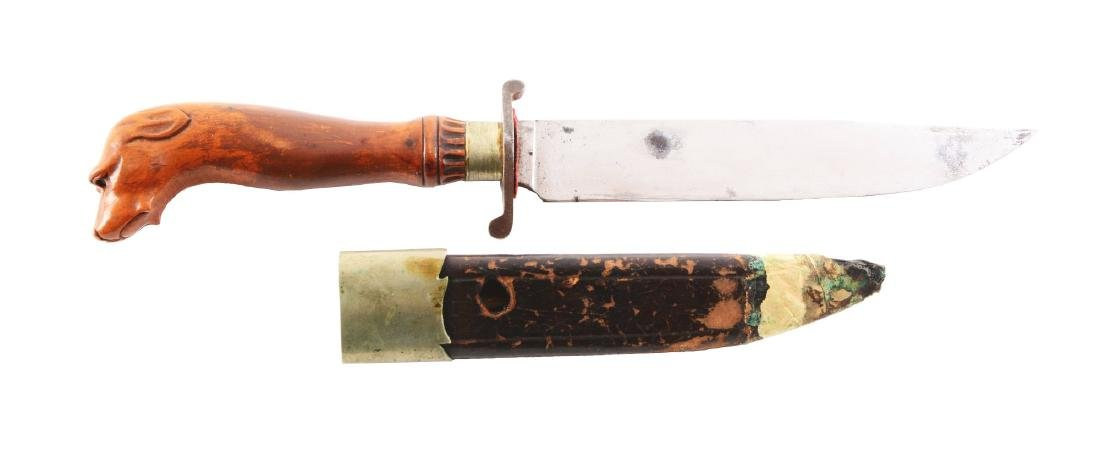 European Fixed Blade Knife with Dog's Head Handle.