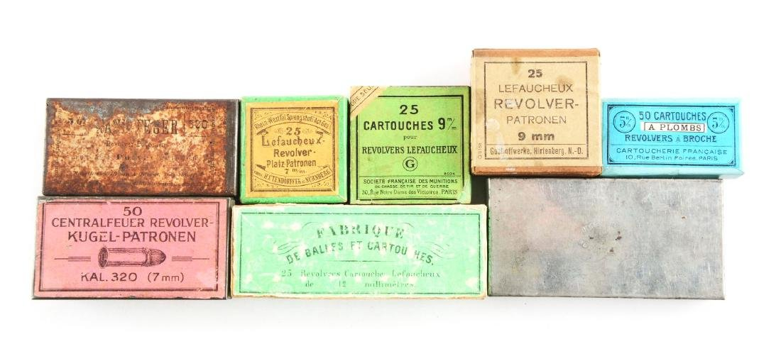 Lot of 8: Boxes of Pinfire & Rimfire European Ammo.