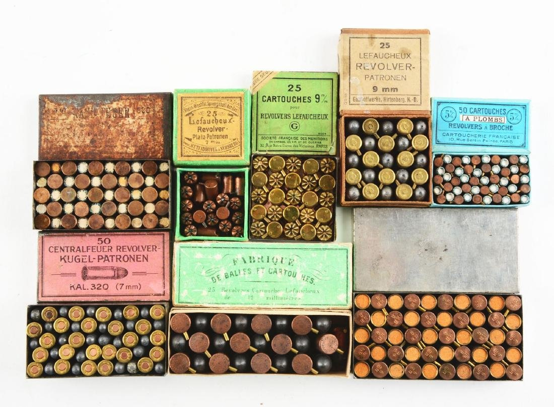 Lot of 8: Boxes of Pinfire & Rimfire European Ammo. - 2