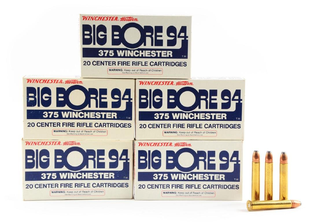 Lot of 5: Boxes of .375 Winchester Ammo.