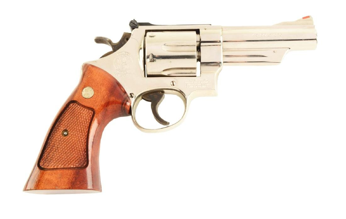 (M) ID'd Nickel S&W Model 25-5 Double Action Revolver.