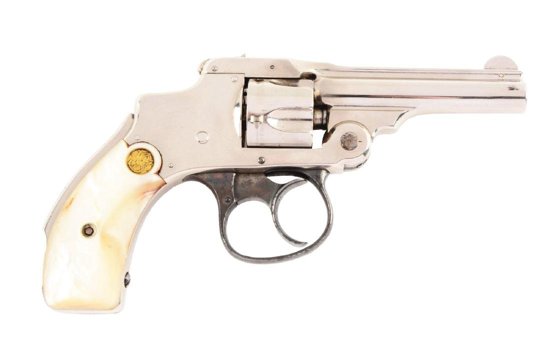 (A) S&W Safety Hammerless Revolver - Nickel-Pearls.