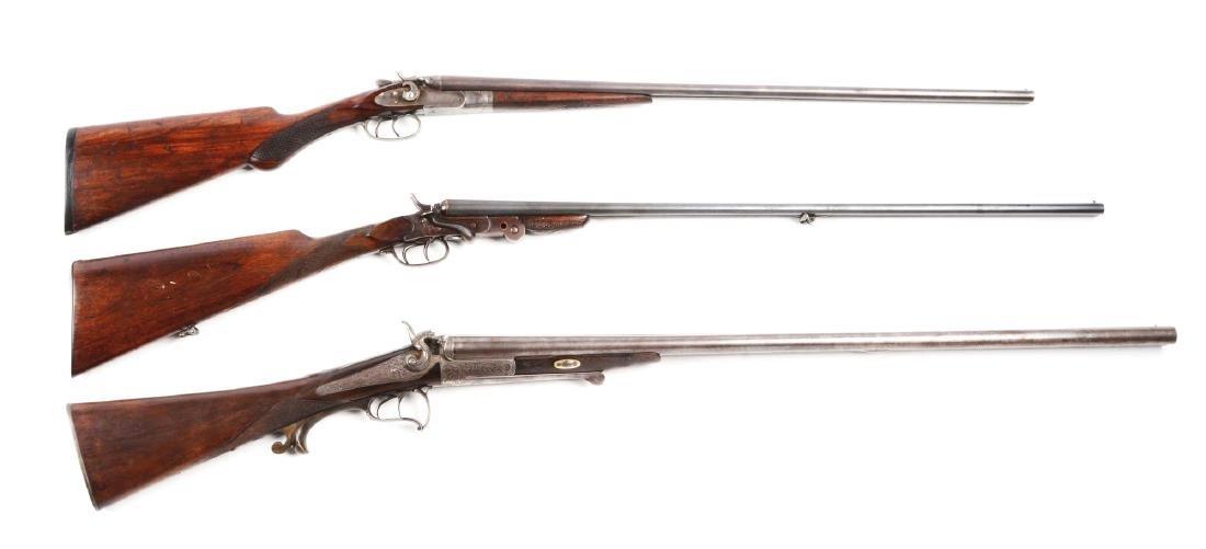 (A) Lot of 3: Antique Double Hammer Shotguns.
