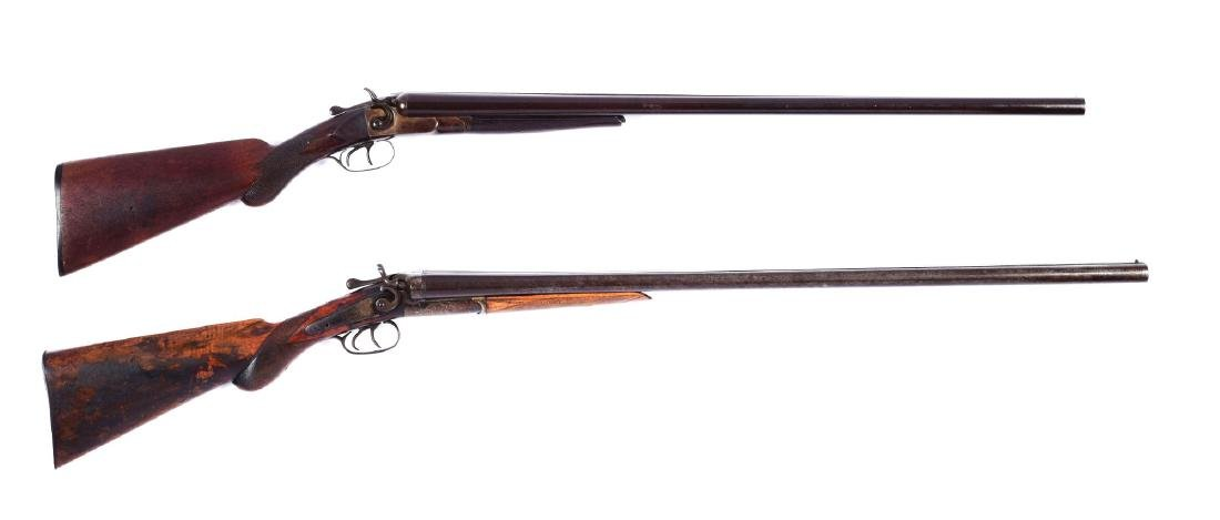 (A) Lot of 2: Double Barrel Hammer Shotguns.