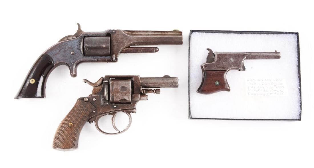 (A) Lot of 3: Antique Pistols & Revolver.