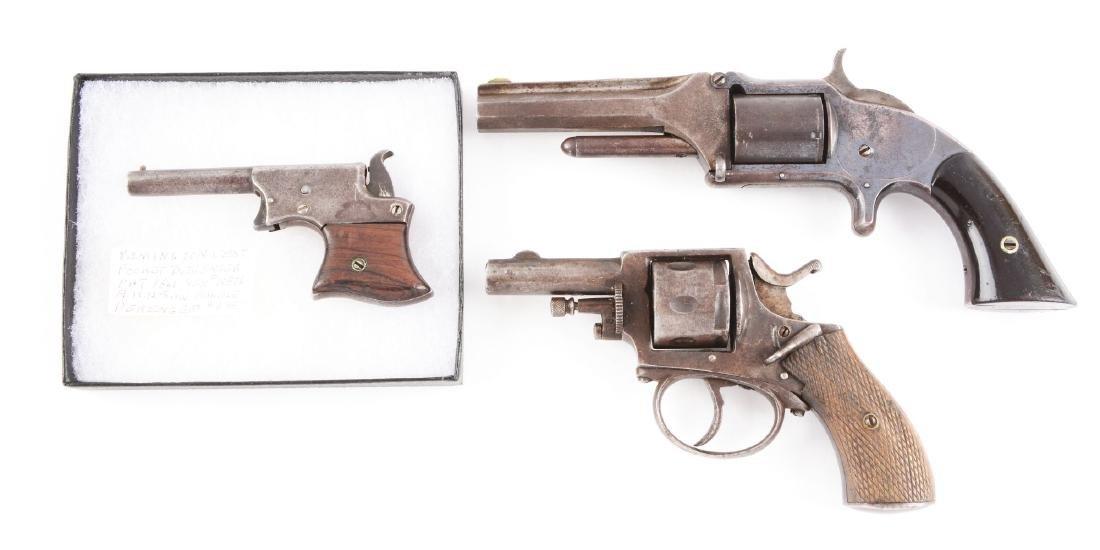 (A) Lot of 3: Antique Pistols & Revolver. - 2