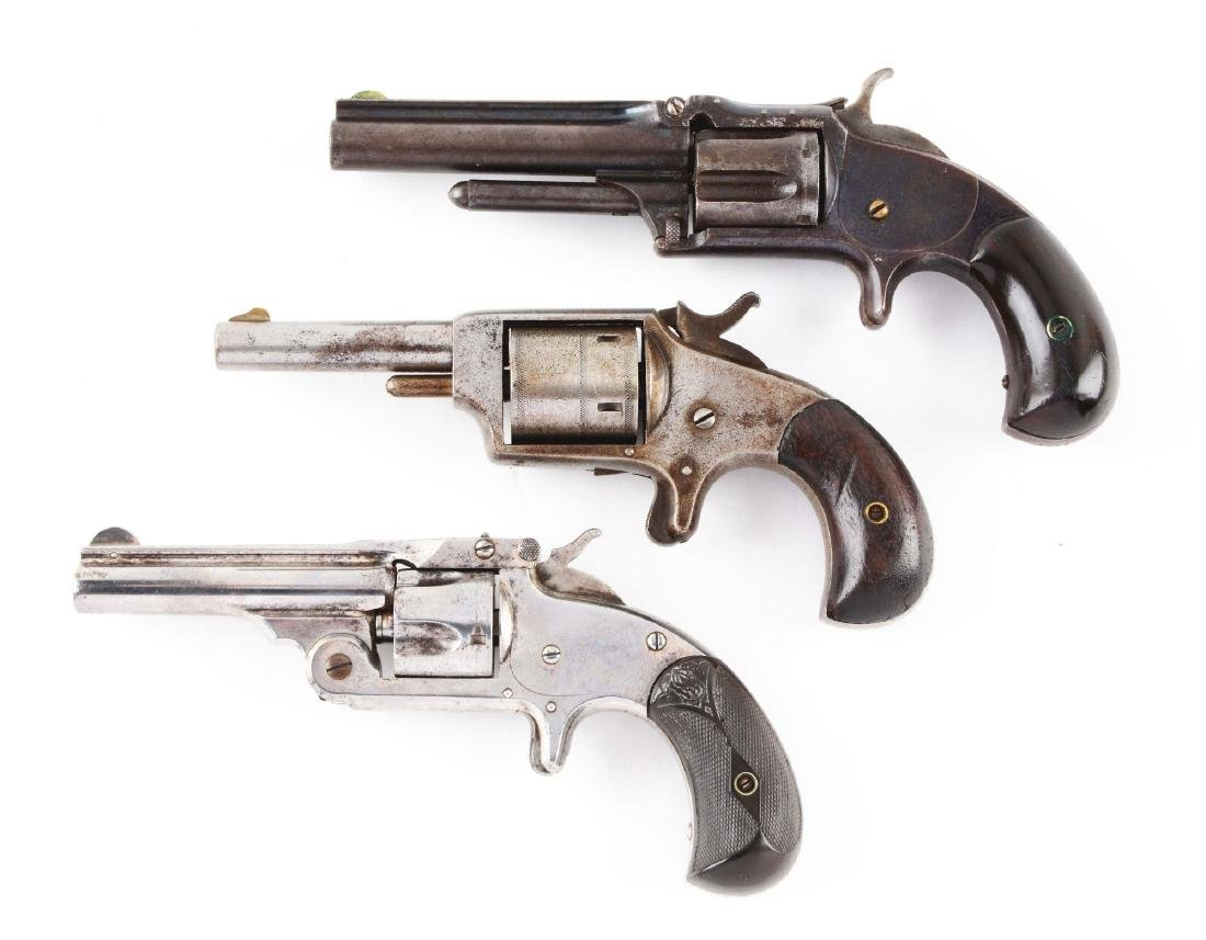 (A) Lot of 3: Antique Spur Trigger Revolvers. - 2