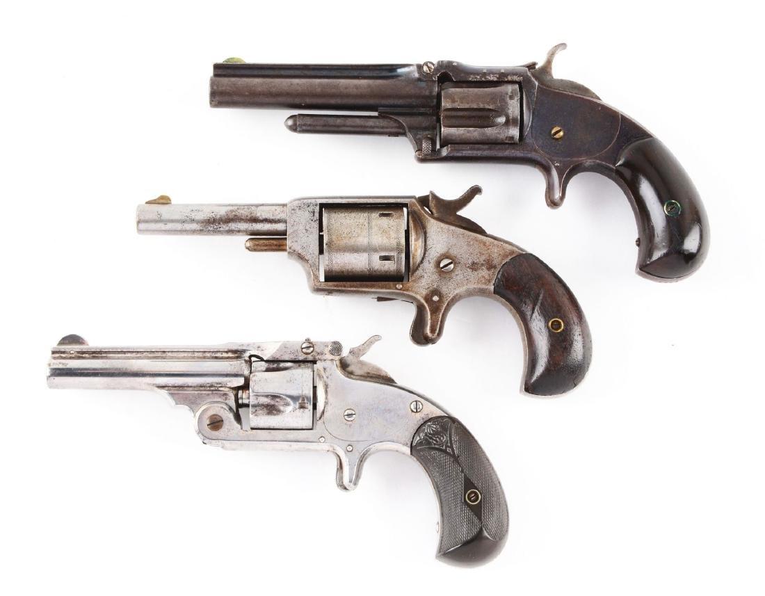 (A) Lot of 3: Antique Spur Trigger Revolvers. - 2