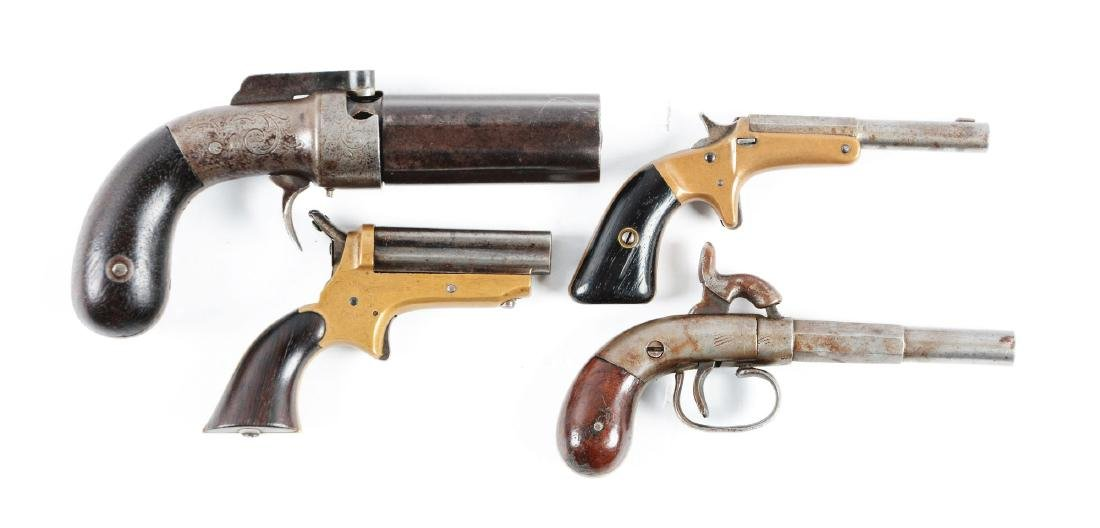 (A) Lot of 4: Antique Pocket Pistols.