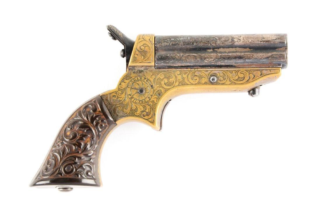 (A) Factory Engraved C. Sharps 4-Barrel Deringer.