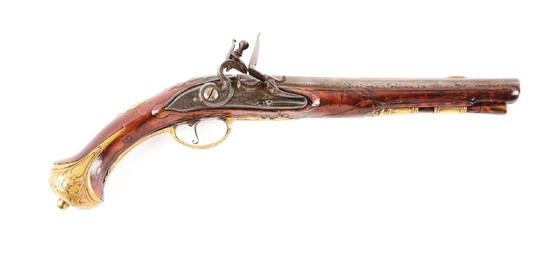 (A) European Flintlock Officer's Pistol.