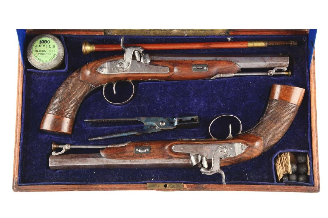 (A) Cased Pair of English Percussion Target Pistols by