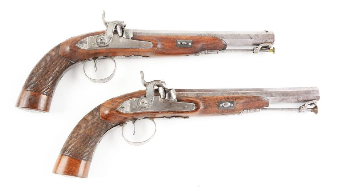 (A) Cased Pair of English Percussion Target Pistols by - 3