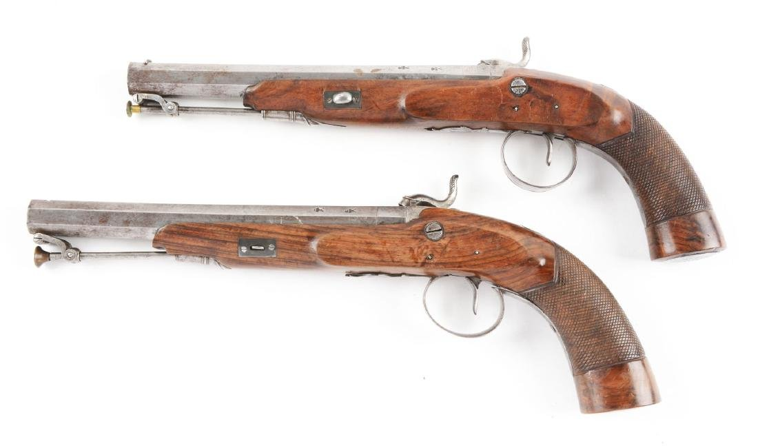 (A) Cased Pair of English Percussion Target Pistols by - 4