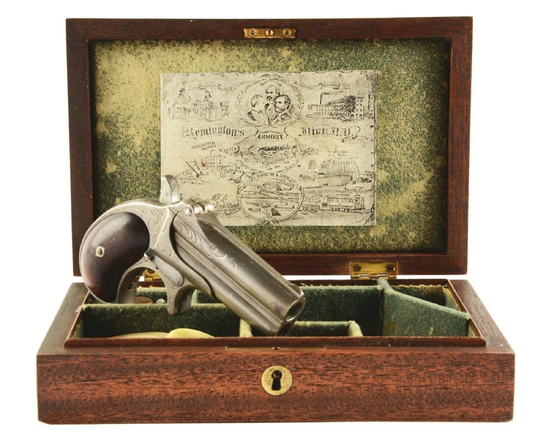 (A) Cased Factory Engraved Remington Double Derringer.