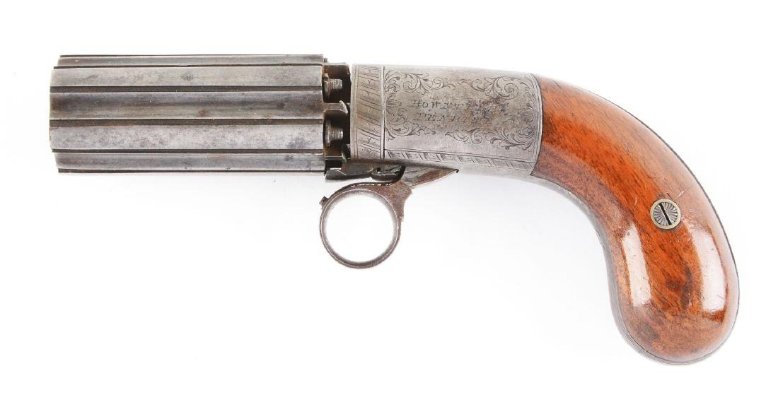 (A) English Pepperbox Revolving Percussion Pistol by - 3