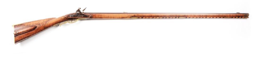 (A) Contemporary Fullstock Flintlock Kentucky Rifle by