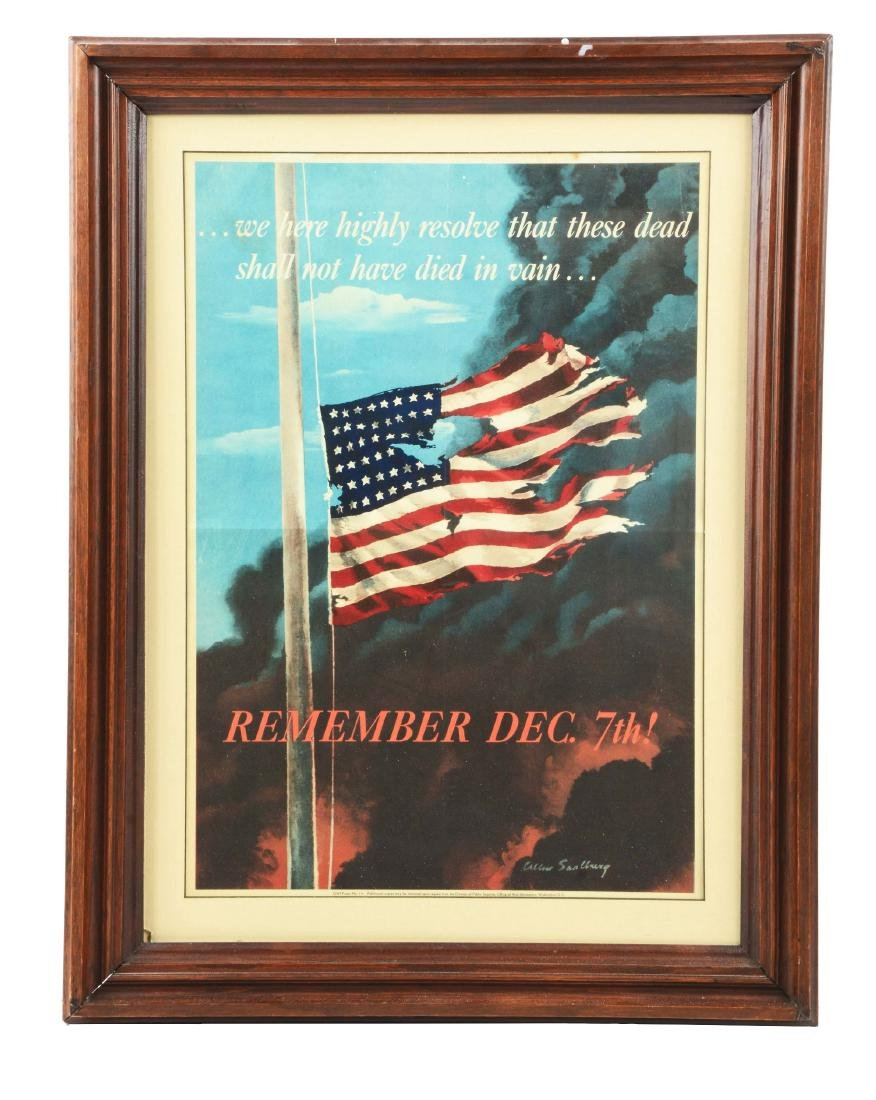 Framed Period Pearl Harbor Remembrance Poster for WWII