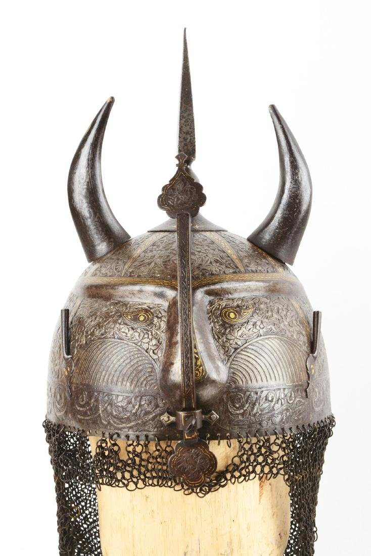 Persian Qajar Devil Form Helmet with Gilt Decoration. - 2