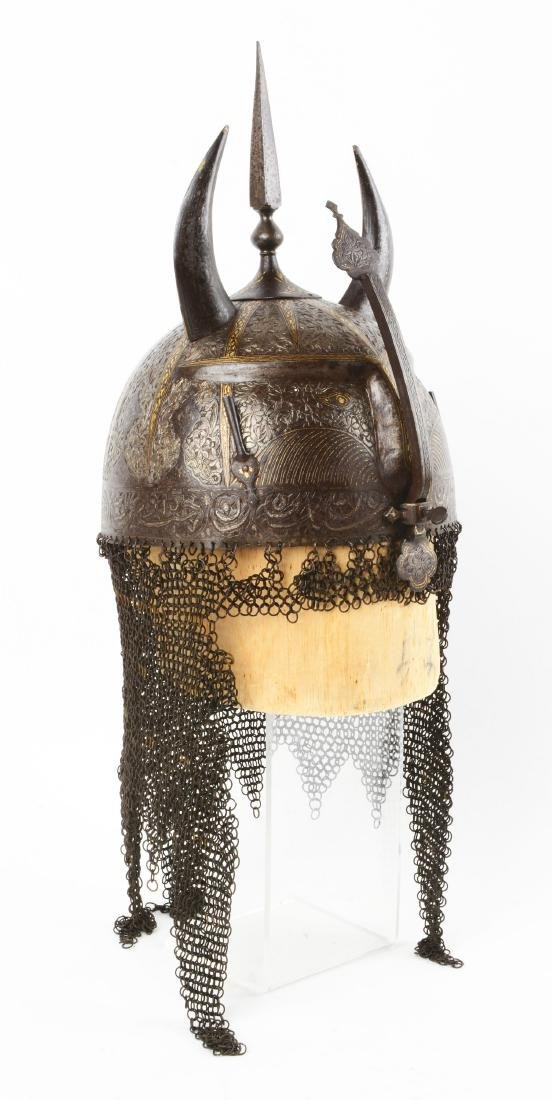 Persian Qajar Devil Form Helmet with Gilt Decoration. - 3
