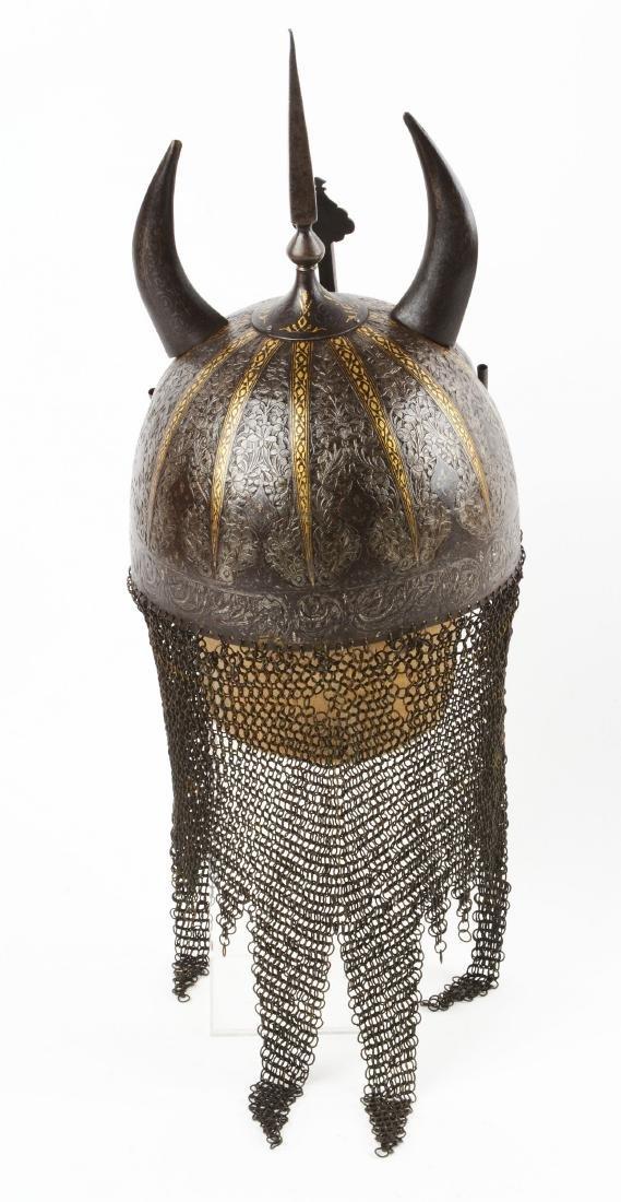 Persian Qajar Devil Form Helmet with Gilt Decoration. - 5