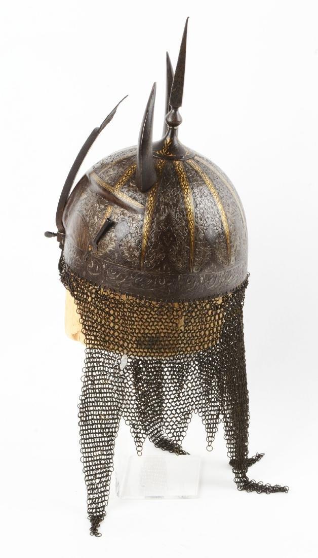 Persian Qajar Devil Form Helmet with Gilt Decoration. - 6