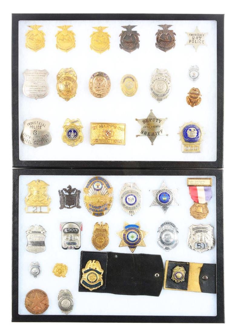 Lot of 36: Police and Fire Department Badges.