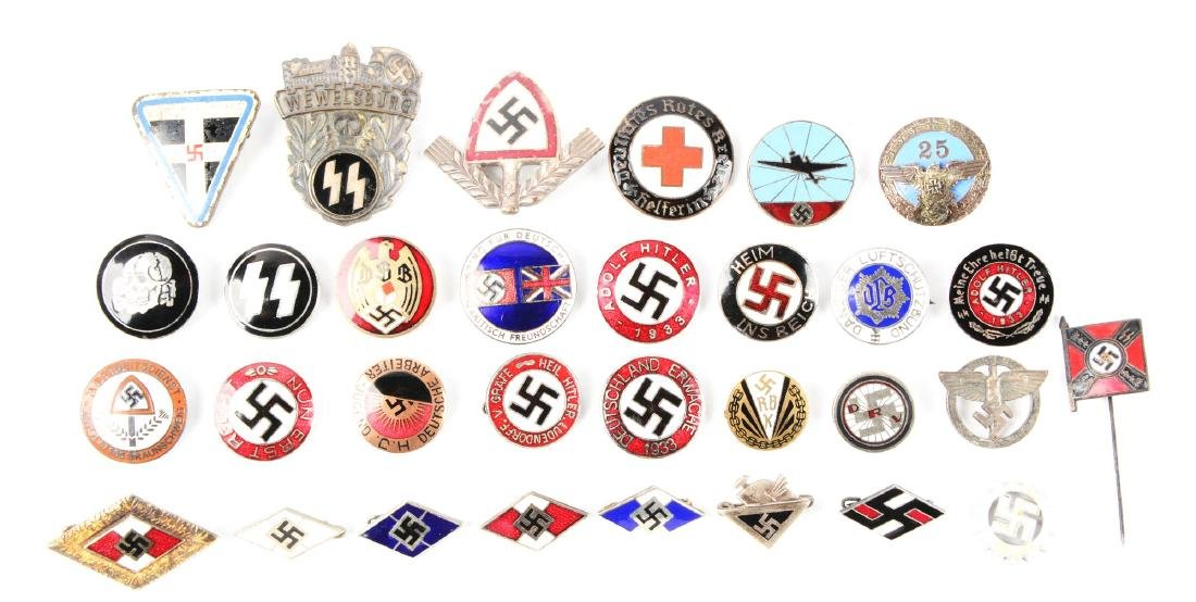Lot of 31: Assorted Nazi Pins.