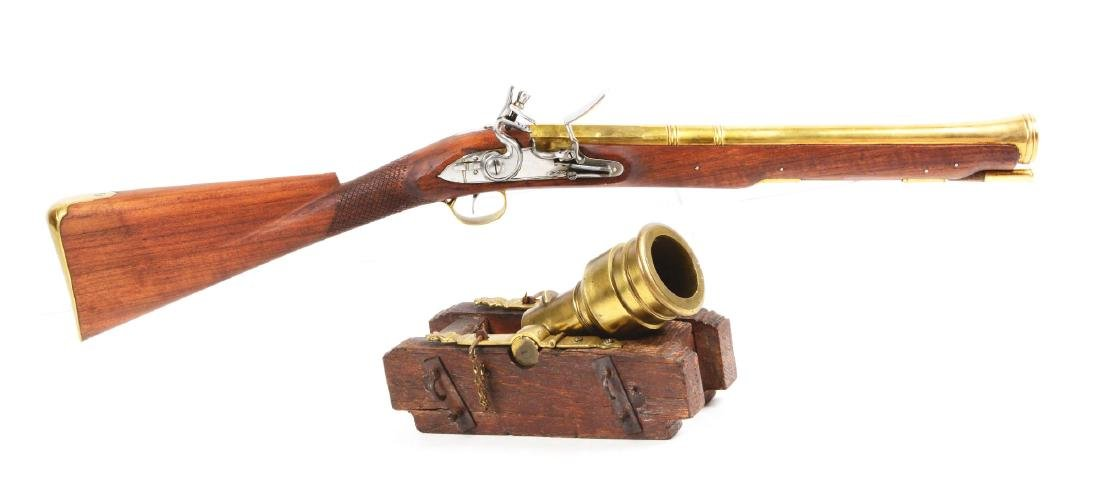 Lot of 2: Morter Model Seige Cannon & Blunderbuss.