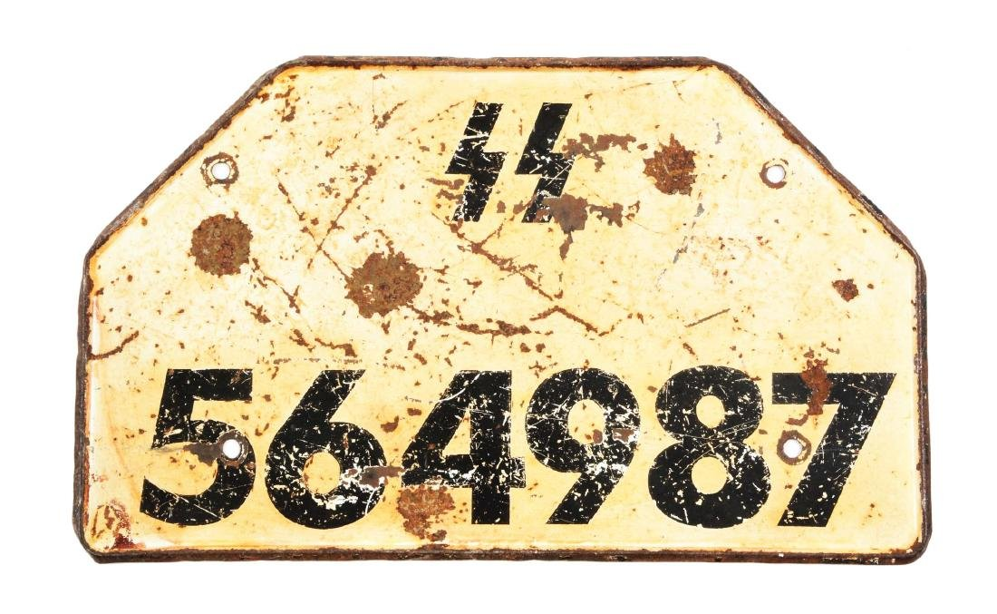 German World War II Waffen SS Vehicle License Plate.