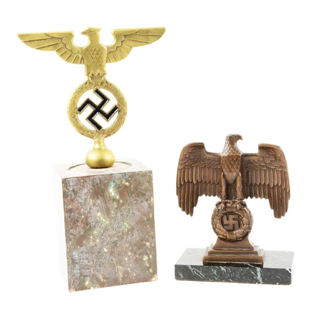Lot of 2: Nazi Desk Eagles on Marble.