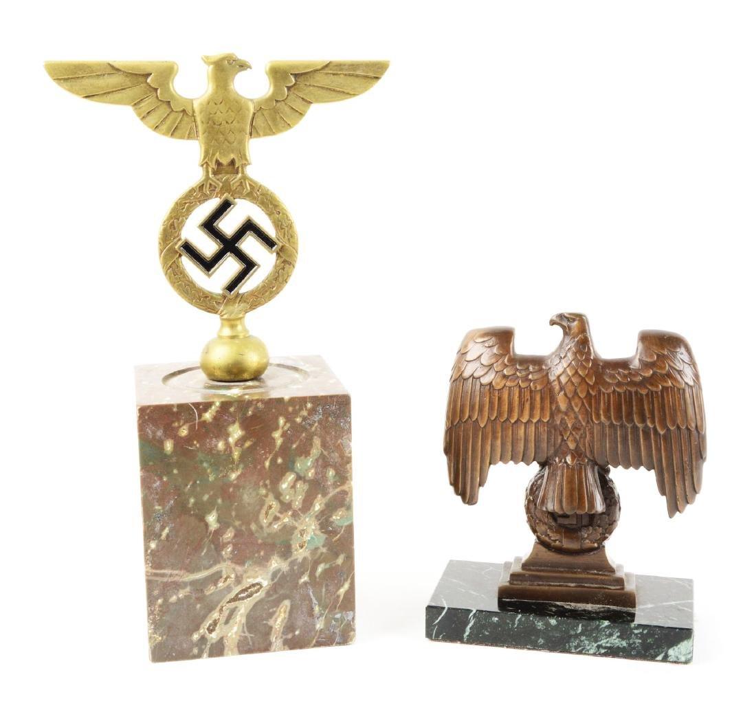 Lot of 2: Nazi Desk Eagles on Marble. - 2