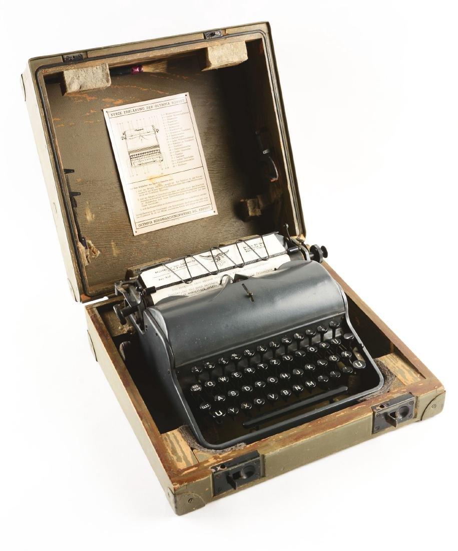 German World War II Military Olympia Typewriter. - 2
