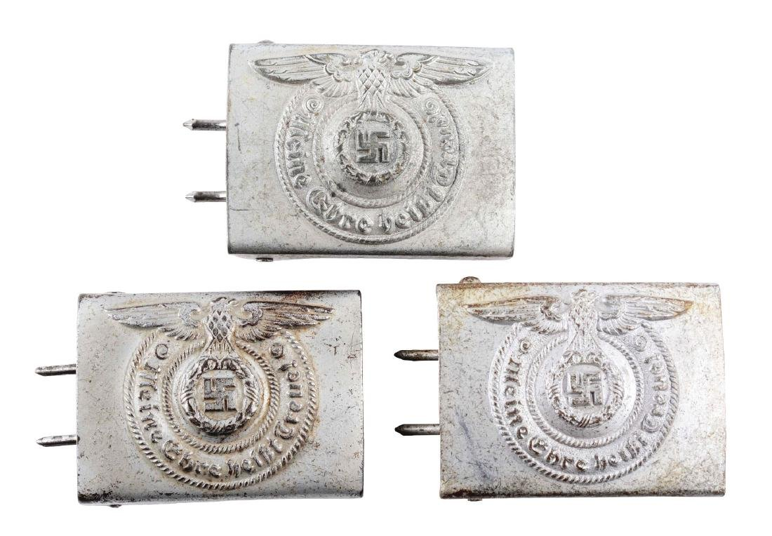 Lot of 3: German World War II EM/NCO SS Belt Buckles.