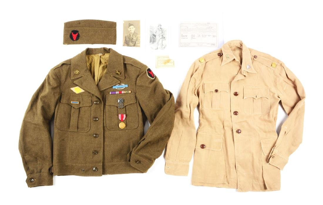 Lot of US WWII Ike Jacket, Cap & Summer Tunic.